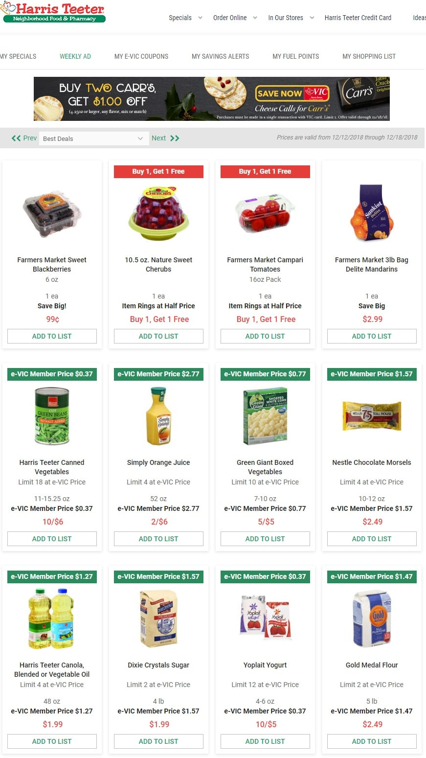 Harris Teeter Weekly Specials December 12 – December 18, 2018