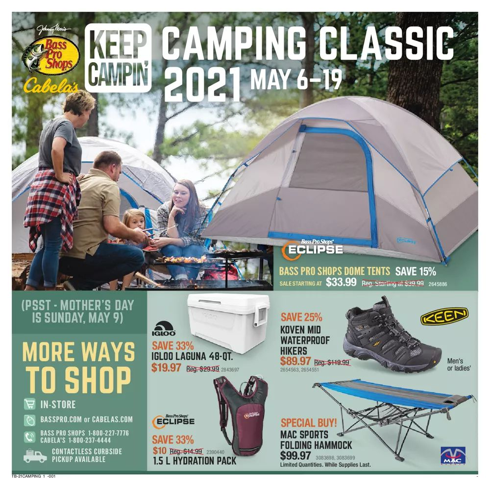 Cabela's Ad May 6 - May 19, 2021. Camp Gear For The Family!